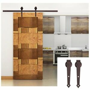 6 Ft Coffee Modern Antique Style Sliding Barn Wood Door Hardware Closet Set Br
