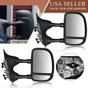 Non heated Mirror Pair Side Manual Extension For 99 07 Ford F250 f550
