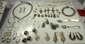Sterling Silver Jewelry Lot 402 9g 84pc 1930s Now 99 No Stones Not Scrap 925