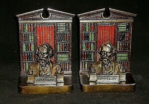 Vintage Bookends Longfellow Judd Polychrome Ca 1926