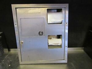 A39 Toilet Paper Dispenser W Trash tampon Recepticle Dual Sided Ss