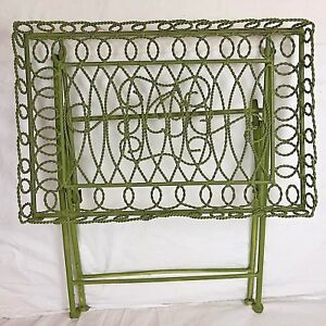 Vintage Iron Folding Small Garden Table Painted Green