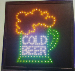 Cold Beer Neon Led Sign store business window bar restaurant Sign 20 X 20