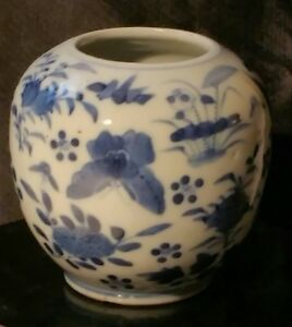 Rare Antique Chinese Blue White Glazed Butterfly Birds Brush Pot 19th Century