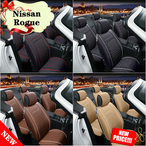 Front Rear Auto Car Chair Pad Cushion Seat Covers Bin Fits Nissan Rogue 13 16