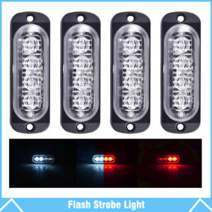 4 Red White 4 Led Emergency Car Side Marker Grille Flash Strobe Hazard Lights