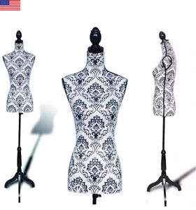 Female Mannequin Display Torso Dress Clothing Form Display White Tripod Stand