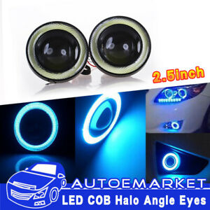 2 5 Angel Eye Cob Blue Halo Ring Led Drl Projector Len Fog Driving Light Suv Us