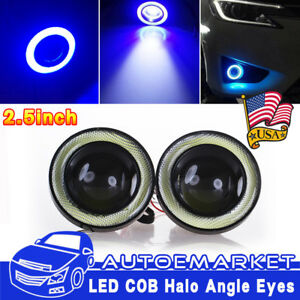 2 5 Cob Led Fog Light Projector Lamp Blue Halo Angle Eyes Ring Bulb Drl Usa