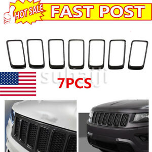 7pcs Jeep Grand Cherokee Black Grill Grille Inserts Ring Kit 2014 2016 Usa