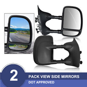 L r 99 07 Ford F250 f550 Manual Extension Towing Telescoping Side Mirrors