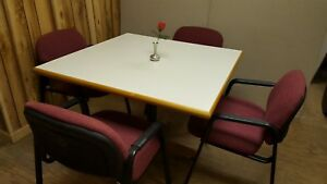 Conference Cafe Table 42 Sq With Four Elegant Globe Chairs