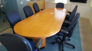 Custom Built Kimball Office Conference Table Wood Veneer 48 X 120
