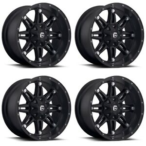 Set 4 22 Fuel Hostage D531 Black Wheels 22x14 6x135 6x5 5 76mm Lifted 6 Lug