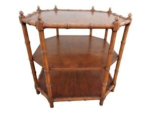 Vtg Baker Milling Road Octagon Faux Bamboo Three Tiered Accent End Side Table