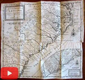 Carolinas United States South 1730 Moll Map Inset Improved Part Settlements