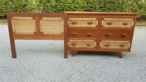 Vintage Mid Century Modern Childs Dresser And Headboard Bedroom Furniture