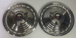 Pair Of 1963 Ford Galaxie 500 Xl 14 Spinner Hubcaps Oem