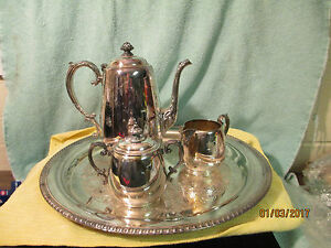 Vintage Wm Rogers Silver Plate Tea Set With 15 Inch Serving Tray