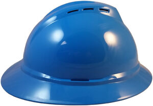Blue Msa Vented Advance Full Brim Hard Hat With 4 Or 6 Point Ratchet Suspension