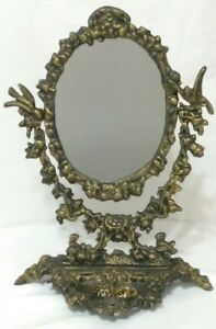 Vintage Victorian Ornate Brass Cast Iron Vanity Mirror W Jewelry Holder