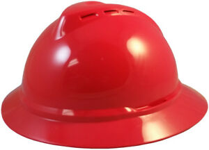 Red Msa Vented Advance Full Brim Hard Hat With 4 Or 6 Point Ratchet Suspension