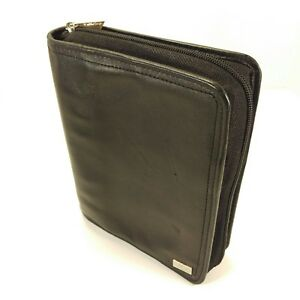 Franklin Covey Unstructured Black Leather Compact Planner Binder Organizer Zip