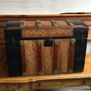Antique Vintage Dome Top Steamer Trunk