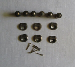 Vintage Brass Plated Roll Point Spring Button For Holding Doors Catch Lot Of 6