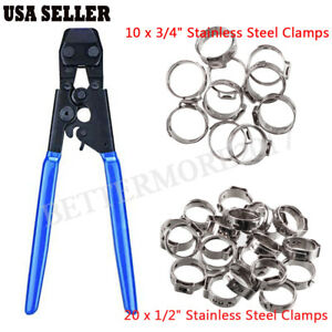 Pex Cinch Crimp Crimper Crimping Tool 3 8 To 1 30 1 2 And 3 4 Ss Clamps