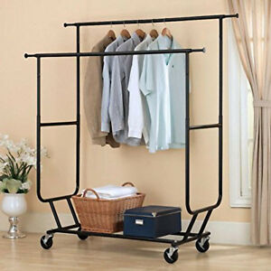 Us Heavy Duty Commercial Clothing Garment Hanger Rolling Collapsible Rack Chrome