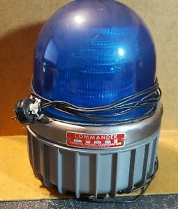 Vintage Commander Federal Signal Blue Strobe Light 371dst Safety Beacon Vgc