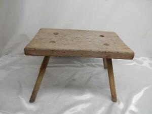 Antique Primitive Wood Milking Stool Bench 4 Leg Chair Old Vtg Furniture Rustic