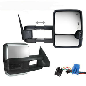 For 03 06 Silverado Sierra Power Heated Smoke Led Signals Backup Lamp Tow Mirror