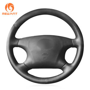 Black Genuine Leather Steering Wheel Cover For Toyota Camry Avalon Highlander