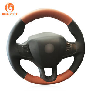 Diy Black And Light Brown Leather Steering Wheel Cover Wrap For Peugeot 208 2008