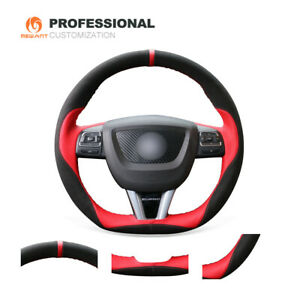 Diy Black Suede Red Pu Leather Steering Wheel Cover For Seat Leon Cupra Mk2 1p