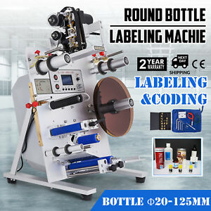 150w Round Bottle Labeling Machine Labeler Liquid Crystal Plc Control Commercial