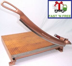 Ideal School Supply Ingento 5 Cast Iron Maple Guillotine Paper Cutter 16 x16