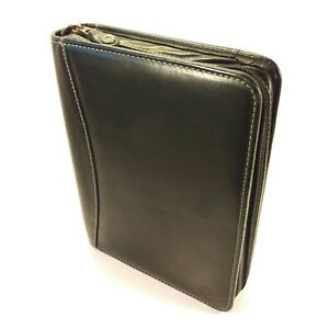Franklin Covey Riverwood Classic Black Leather Zipper Binder Planner