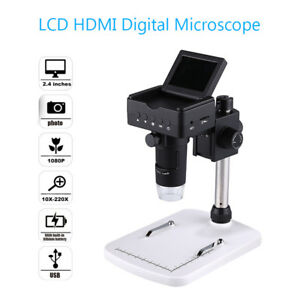 Usb Lcd Hdmi Digital Microscope Camera 220x Hd Magnifier Fr Mac Pc Iphone Remote