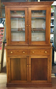Vintage Pine Step Back Cabinet Two Piece Beautiful Patina 10995