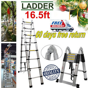 Telescopic Extension Ladder Heavy Duty Aluminum 12 5 16 5 Ft Fold Multi Purpose