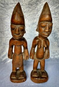 Good Pair Of Yoruba Ibeji Figures Male And Female Wood Statues African 20th C