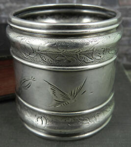 Antique Gorham Sterling Silver Napkin Ring W Butterflies And Flowers 1650