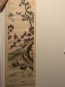 A Large Chinese Painting On Silk Signed With Seal