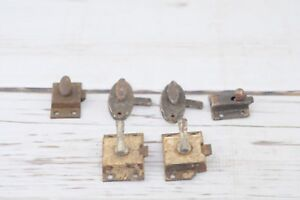 6 Vintage Lock Door Latch Lever Dead Bolts With No Keepers