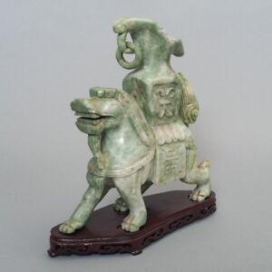 Antique Chinese Carved Green Stone Jade Dragon Statue Vase 10 5 Wood Base