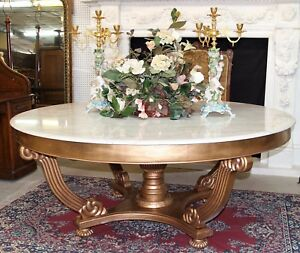 Vintage French Gold Leaf Large Round White Marble Entry Dining Table 72