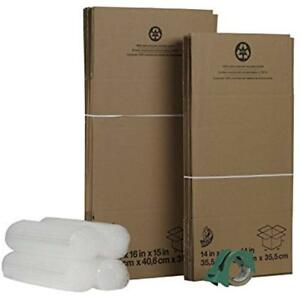 Duck Packing Tape Brand Moving Kit With 12 Boxes 4 Rolls Bubble Wrap Hd Clear